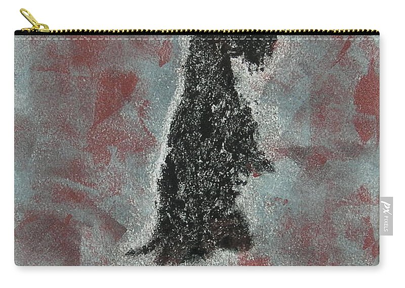 Scottish Terrier Carry-all Pouch featuring the mixed media Hot Scottie by Cori Solomon