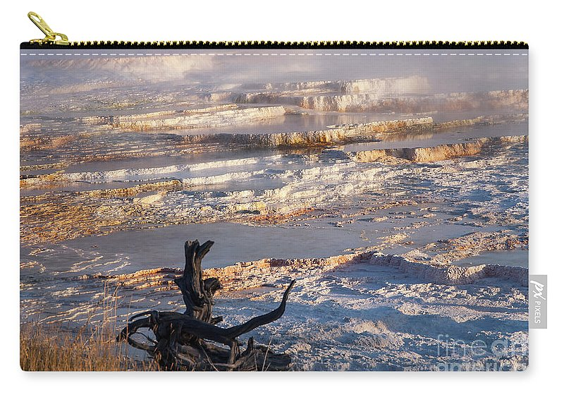 Mammoth Hot Springs Carry-all Pouch featuring the photograph Mammoth Hot Springs One by Bob Phillips