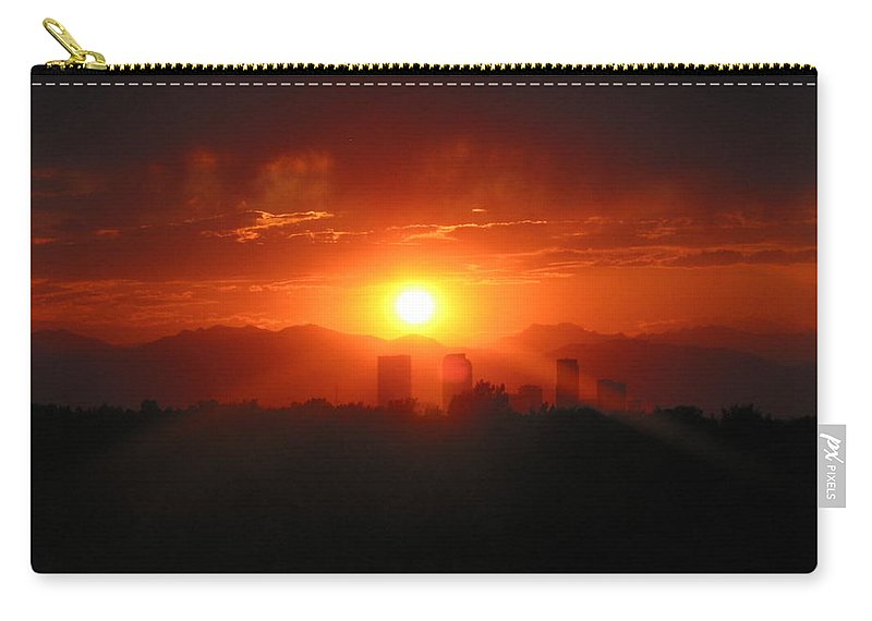 Denver Sunset Carry-all Pouch featuring the photograph Hot Summer Night I Denver Co by Jacqueline Russell