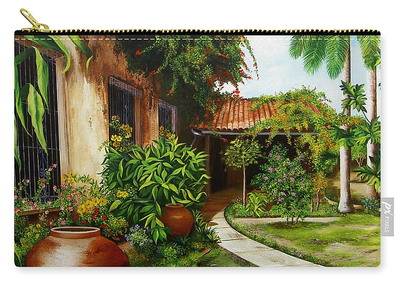 Cuban Carry-all Pouch featuring the painting Hotel Camaguey by Dominica Alcantara