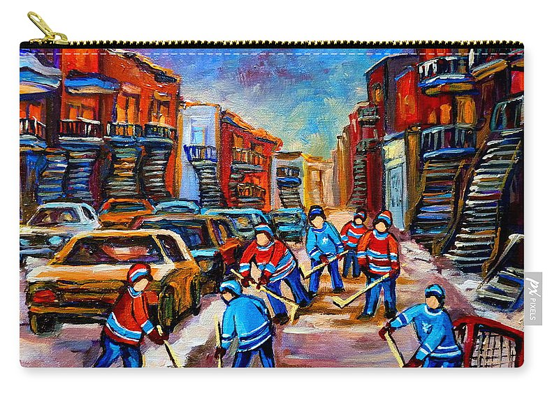 Montreal Carry-all Pouch featuring the painting Hotel De Ville Montreal Hockey Street Scene by Carole Spandau