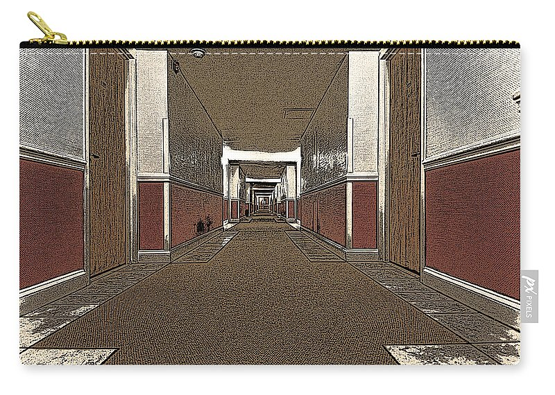 Hotel Carry-all Pouch featuring the photograph Hotel Hallway. by Robert Ponzoni