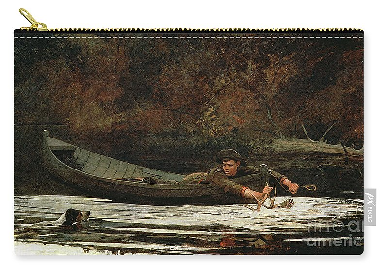 Hound And Hunter Carry-all Pouch featuring the painting Hound And Hunter by Winslow Homer