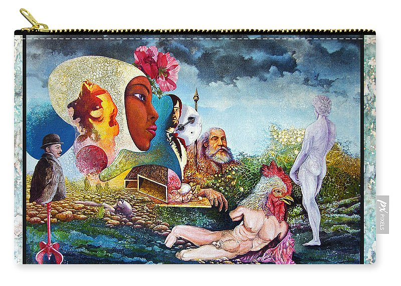 Surrealism Carry-all Pouch featuring the mixed media Hour Of The Cock by Otto Rapp