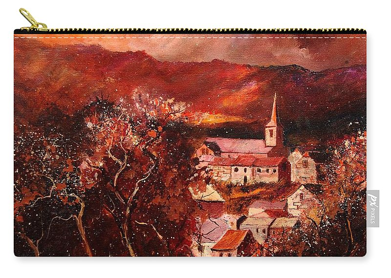 Tree Carry-all Pouch featuring the painting Hour Village 67 by Pol Ledent
