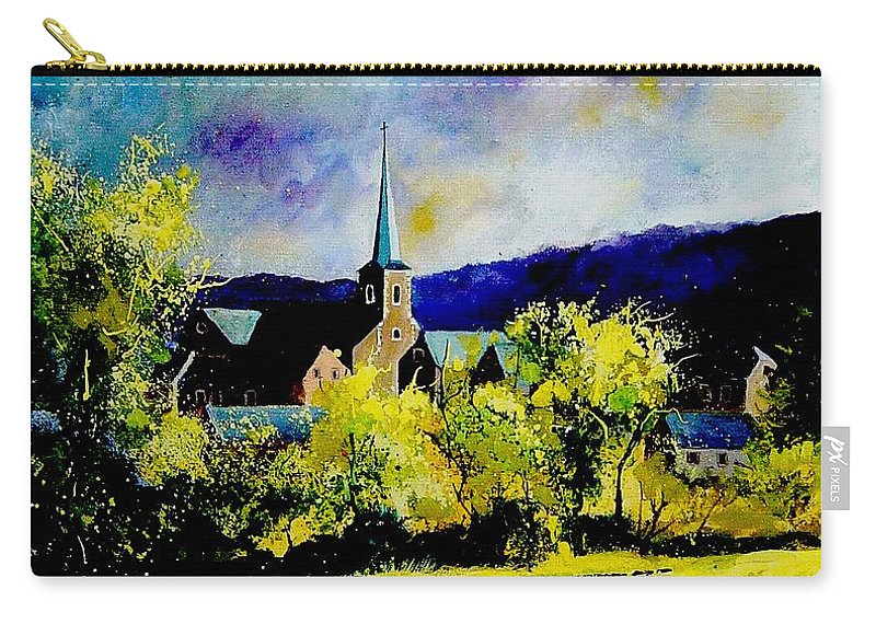Poppies Carry-all Pouch featuring the painting Hour Village Belgium by Pol Ledent