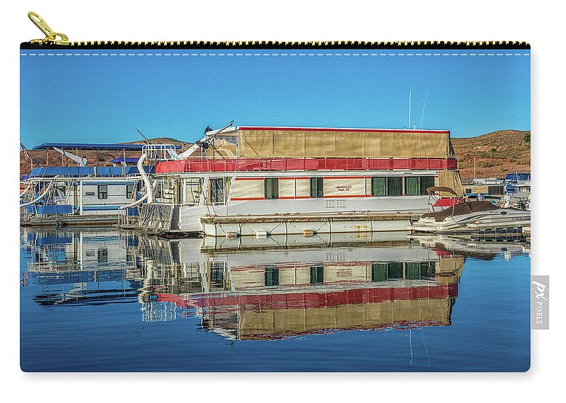 Water Boats Reflections Marina Fishing Carry-all Pouch featuring the photograph House Boats by Wayne Reynolds