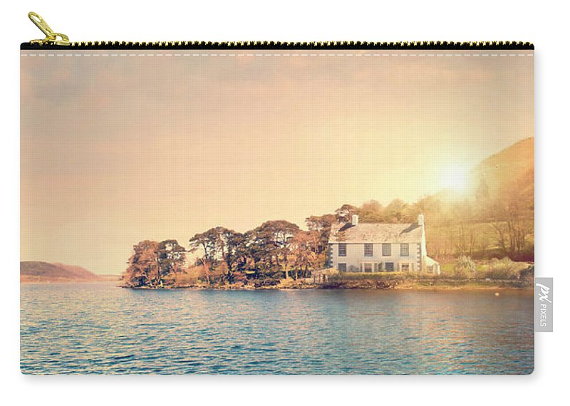 House Carry-all Pouch featuring the photograph House By A Lake At Sunset by Lee Avison