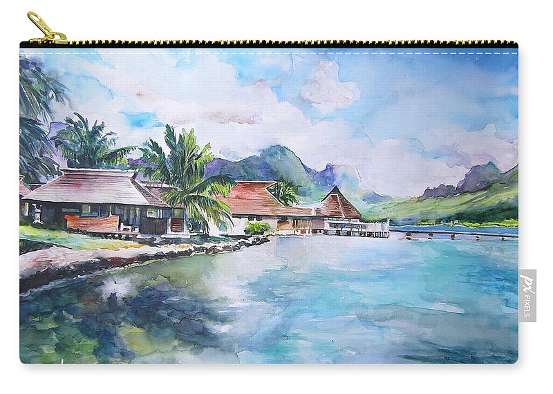 Polynesia Carry-all Pouch featuring the painting House By The Lagoon In French Polynesia by Miki De Goodaboom