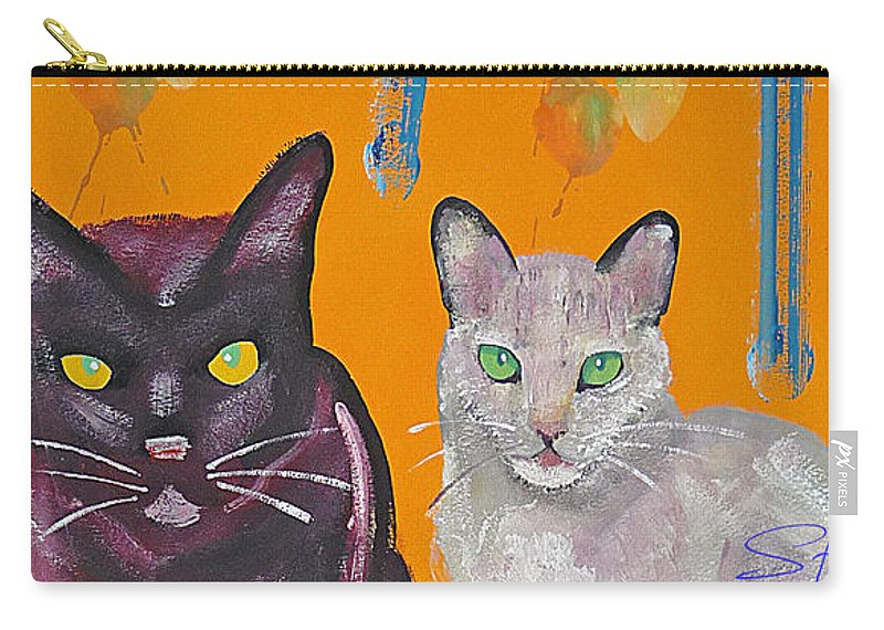 Cat Carry-all Pouch featuring the painting House Cats by Charles Stuart