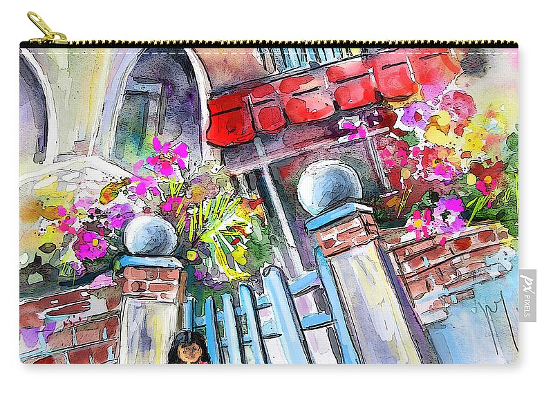 Garrucha Painting Carry-all Pouch featuring the painting House Entrance In Garrucha by Miki De Goodaboom