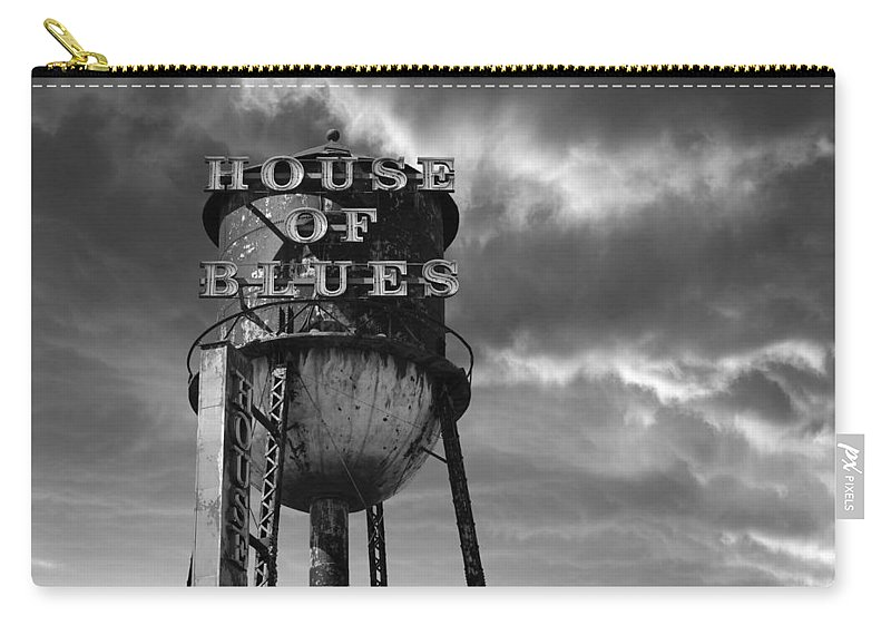 Laura Fasulo Carry-all Pouch featuring the photograph House Of Blues B/w by Laura Fasulo