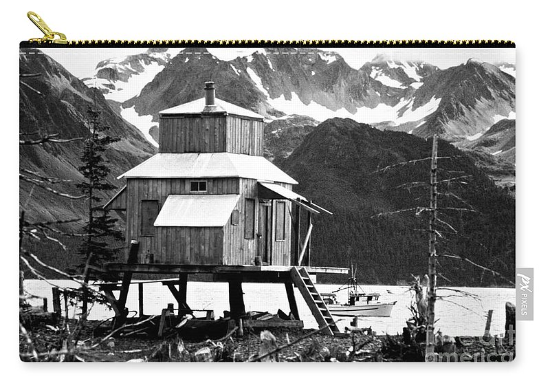 Alaska Carry-all Pouch featuring the photograph House Of Stilts Bw by James BO Insogna