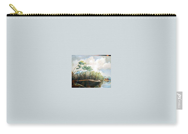 Landscape Carry-all Pouch featuring the painting House On The Lake by Sergey Bezhinets