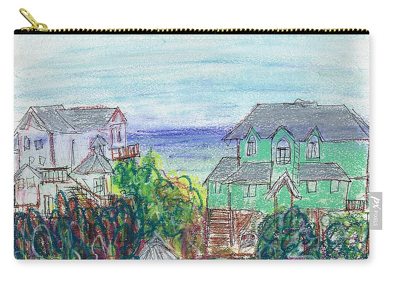 Beach Carry-all Pouch featuring the painting Houses At Whalehead Beach by Christopher O'Kelley