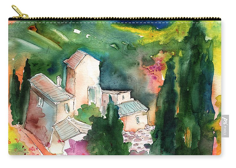 Landscapes Carry-all Pouch featuring the painting Houses In Montepulciano In Tuscany 01 by Miki De Goodaboom