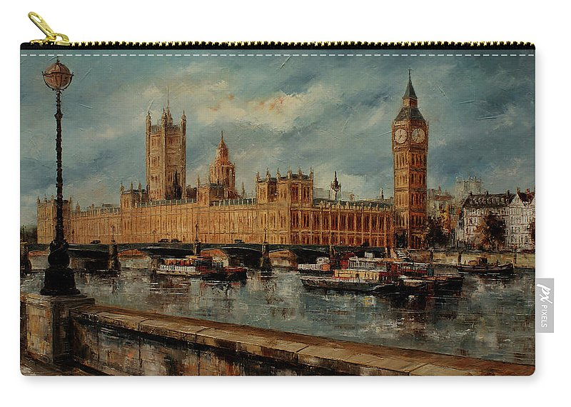 London Paintings Carry-all Pouch featuring the painting Houses Of Parliament - London by Miroslav Stojkovic - Miro