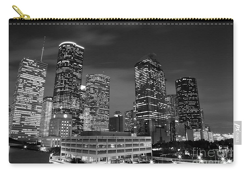 Downtown Carry-all Pouch featuring the photograph Houston By Night In Black And White by Olivier Steiner
