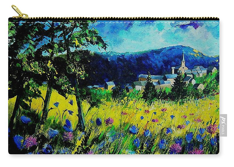 Flowers Carry-all Pouch featuring the painting Houyet 68 by Pol Ledent
