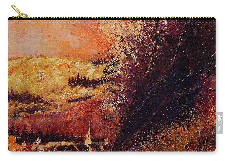 Tree Carry-all Pouch featuring the painting Houyet In Fall by Pol Ledent