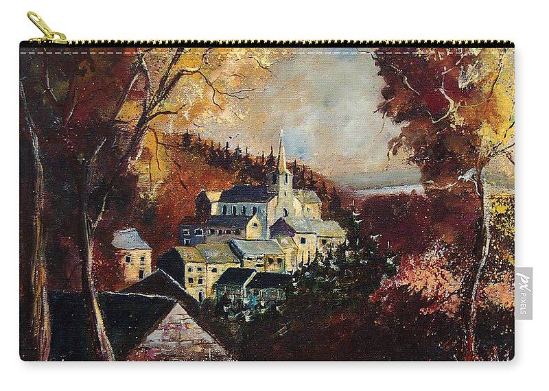 Tree Carry-all Pouch featuring the painting Houyet Village Belgium by Pol Ledent