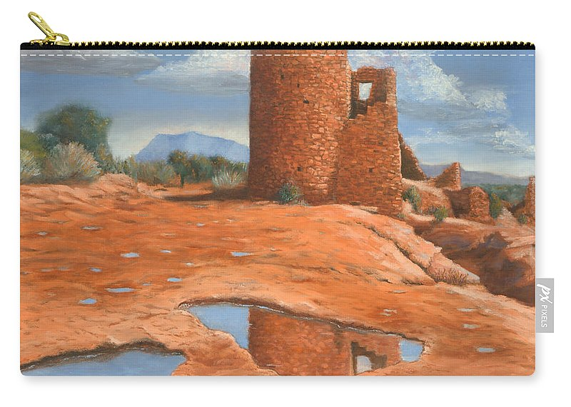 Anasazi Carry-all Pouch featuring the painting Hovenweep Reflection by Jerry McElroy