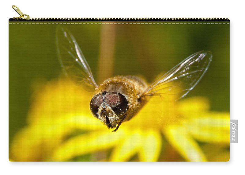 Hover Carry-all Pouch featuring the photograph Hoverfly In Flight by Bob Kemp