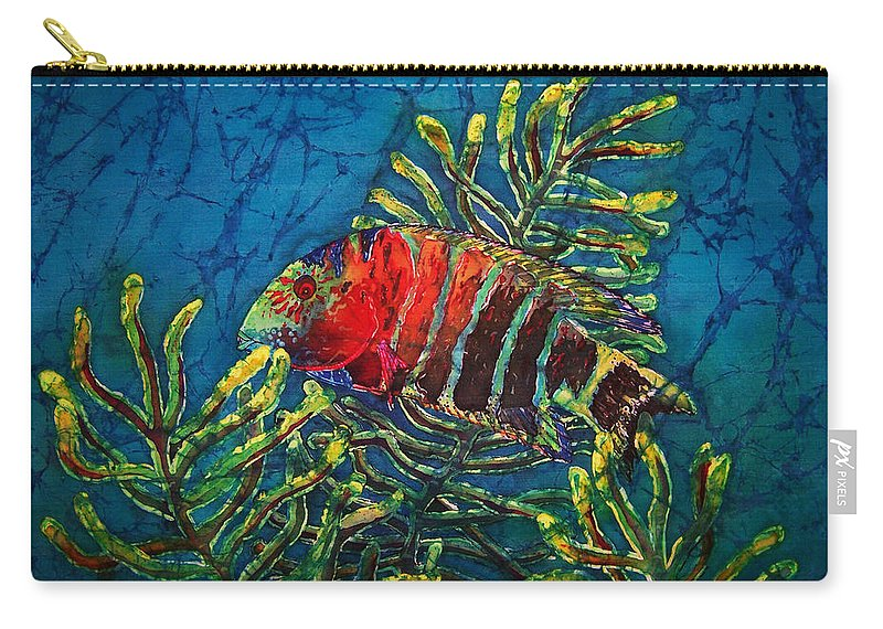 Fish Carry-all Pouch featuring the painting Hovering - Red Banded Wrasse by Sue Duda