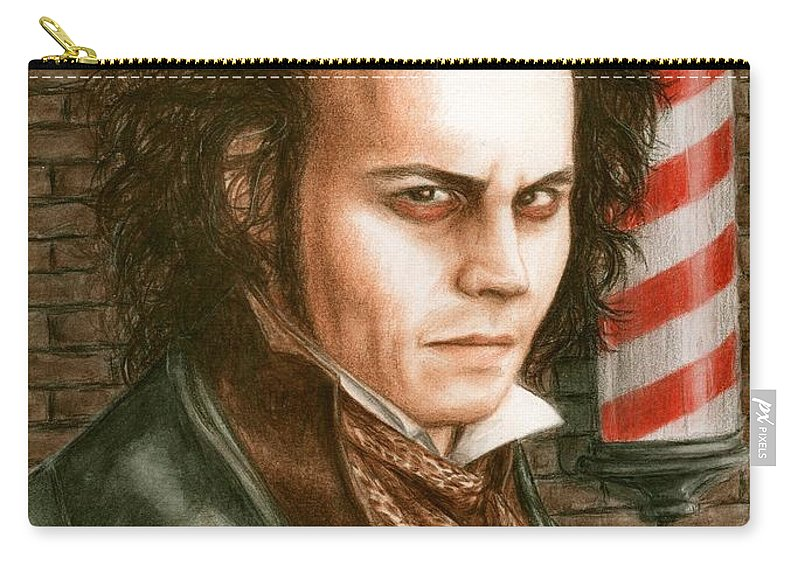 Sweney Todd Johnny Depp Bruce Lennon Art Carry-all Pouch featuring the painting How About A Shave by Bruce Lennon