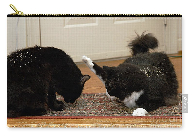 Clay Carry-all Pouch featuring the photograph How Cat Fights Start by Clayton Bruster