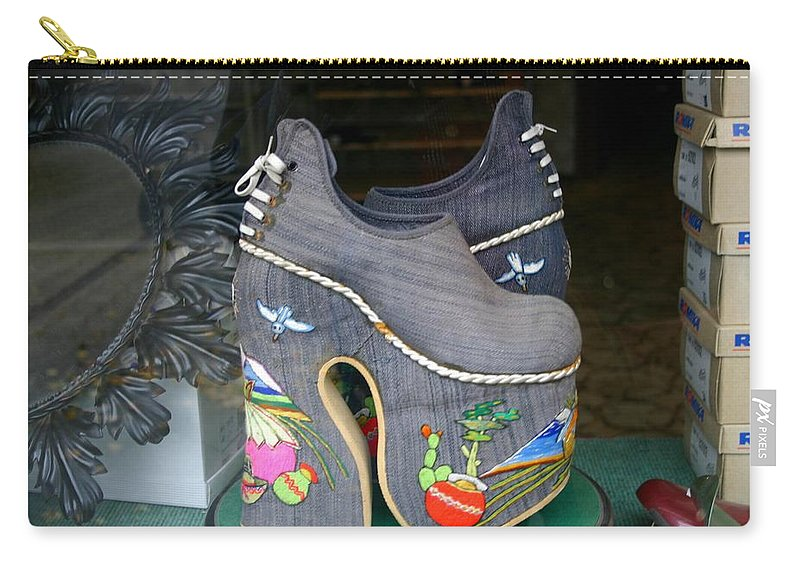 Shoes Carry-all Pouch featuring the photograph How Much Are Those Shoes In The Window by Minaz Jantz