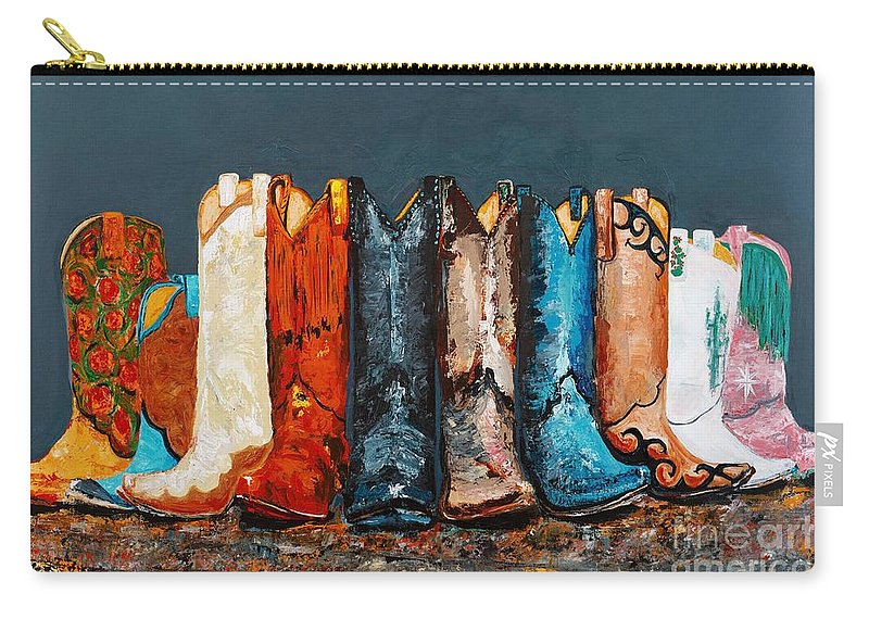 Cowboy Boots Carry-all Pouch featuring the painting How The West Was Really Won by Frances Marino