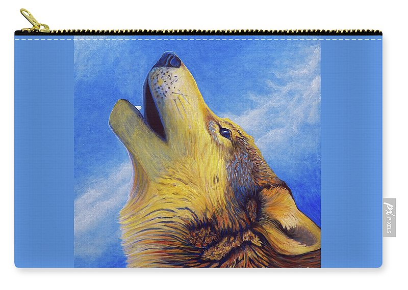 Wolf Carry-all Pouch featuring the painting Howl by Brian Commerford