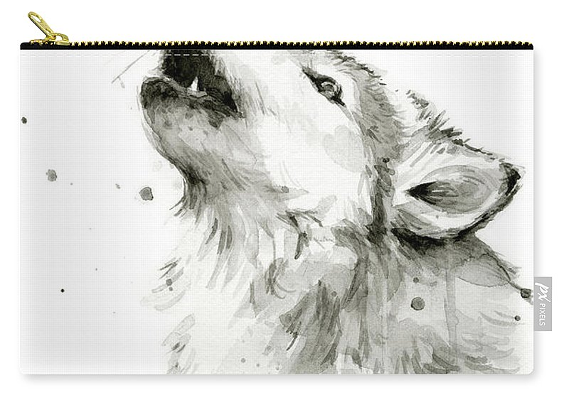 Watercolor Carry-all Pouch featuring the painting Howling Wolf Watercolor by Olga Shvartsur