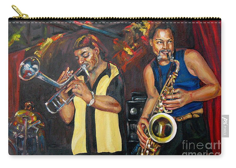 Musician Carry-all Pouch featuring the painting Hud N Lew/ The Daddyo Brothers by Beverly Boulet