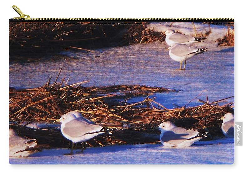 Beach Artwork Carry-all Pouch featuring the painting Huddling On A Winter Day by Eric Schiabor