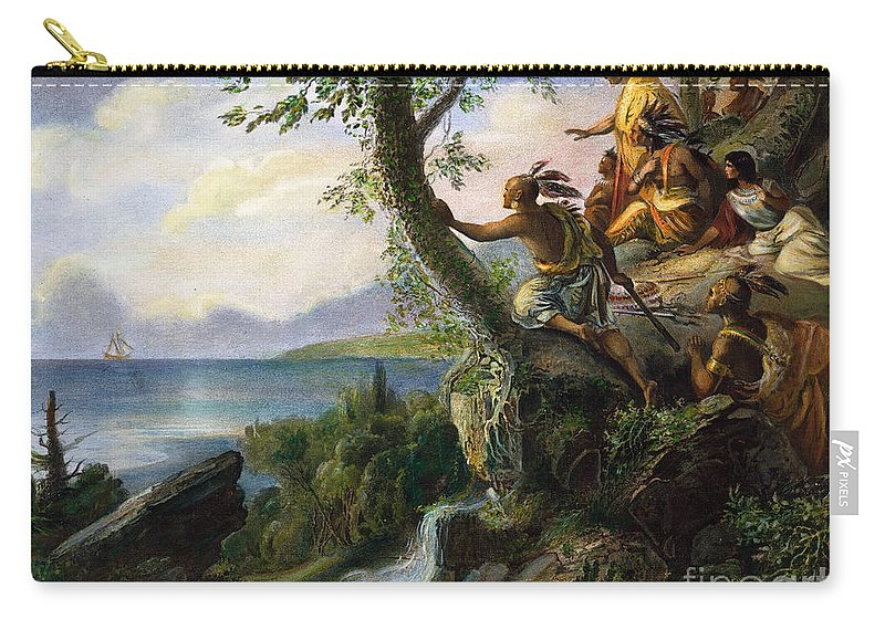 1609 Carry-all Pouch featuring the painting Hudson: New York, 1609 by Granger