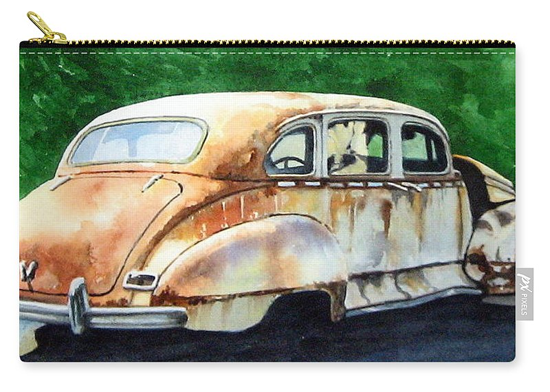 Hudson Car Rust Restore Carry-all Pouch featuring the painting Hudson Waiting For A New Start by Ron Morrison