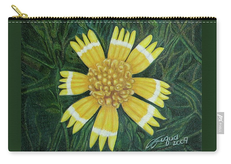 Fuqua - Artwork Carry-all Pouch featuring the drawing Huisache Daisy by Beverly Fuqua