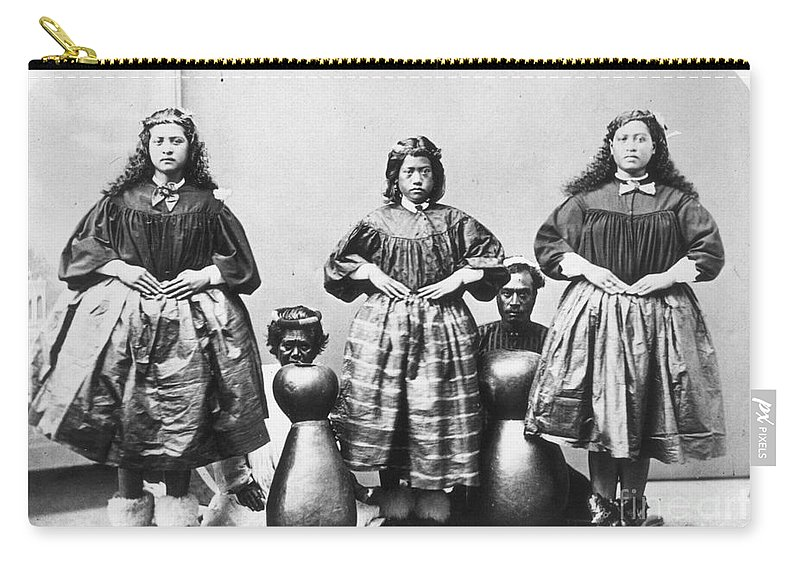 1875 Carry-all Pouch featuring the photograph Hula Dancers, C1875 by Granger