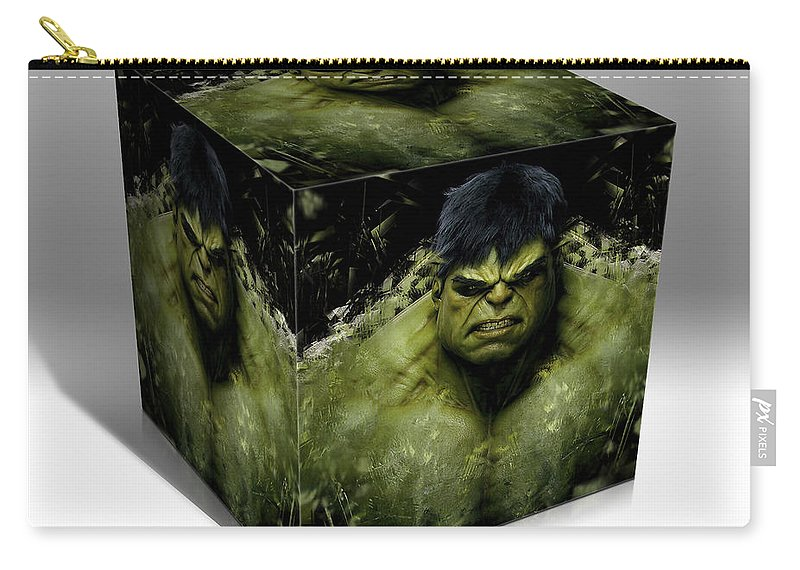 Cool Carry-all Pouch featuring the mixed media Hulk by Marvin Blaine