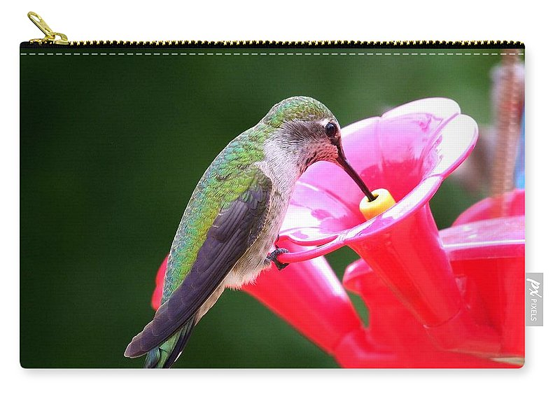 Red Carry-all Pouch featuring the photograph Hummingbird 33 by Mary Deal