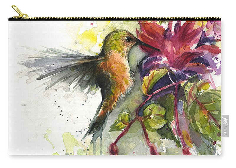 Hummingbird Carry-all Pouch featuring the painting Hummingbird and Fuchsia by Olga Shvartsur