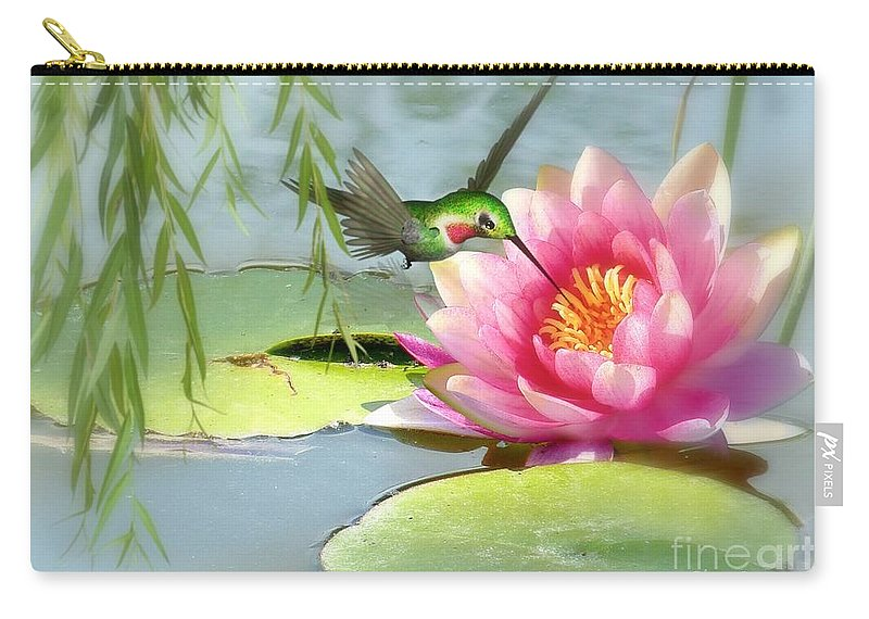 Hummingbird Carry-all Pouch featuring the mixed media Hummingbird And Water Lily by Morag Bates