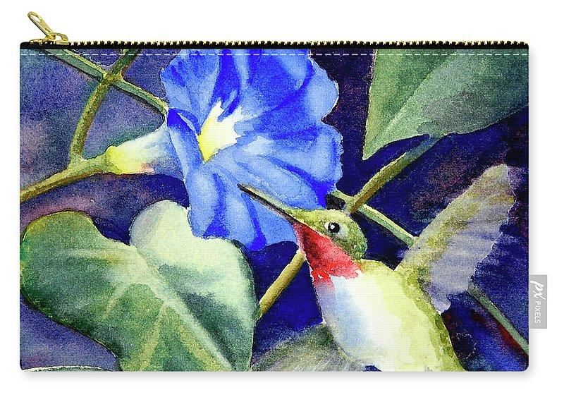 Hummingbird Carry-all Pouch featuring the painting Hummingbird Delight by Bonnie Rinier