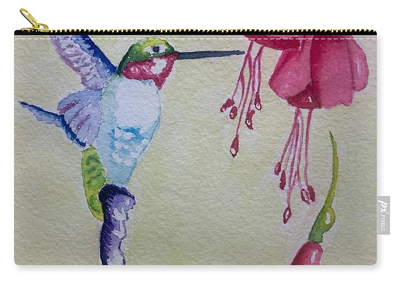 Hummingbird Carry-all Pouch featuring the painting Hummingbird I by Sharon Reed