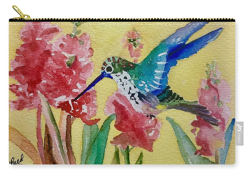 Hummingbird Carry-all Pouch featuring the painting Hummingbird II by Sharon Reed