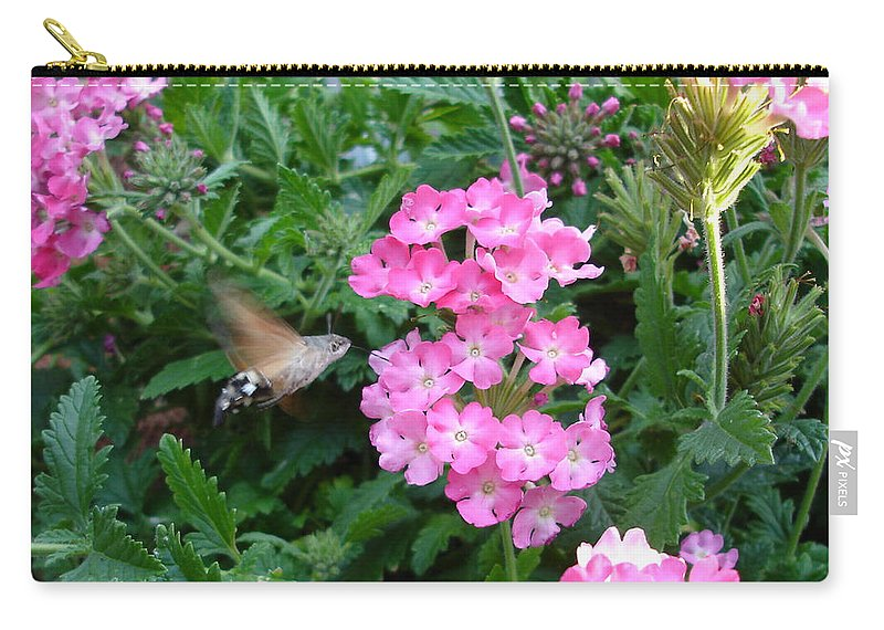 Flower Carry-all Pouch featuring the photograph Hummingbird Moth On Pink Verbena by Susan Baker