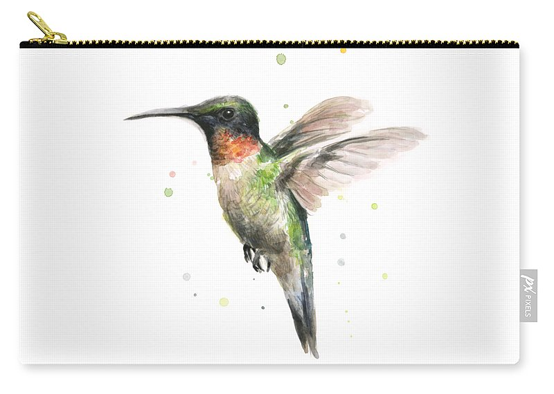 Animal Carry-all Pouch featuring the painting Hummingbird by Olga Shvartsur