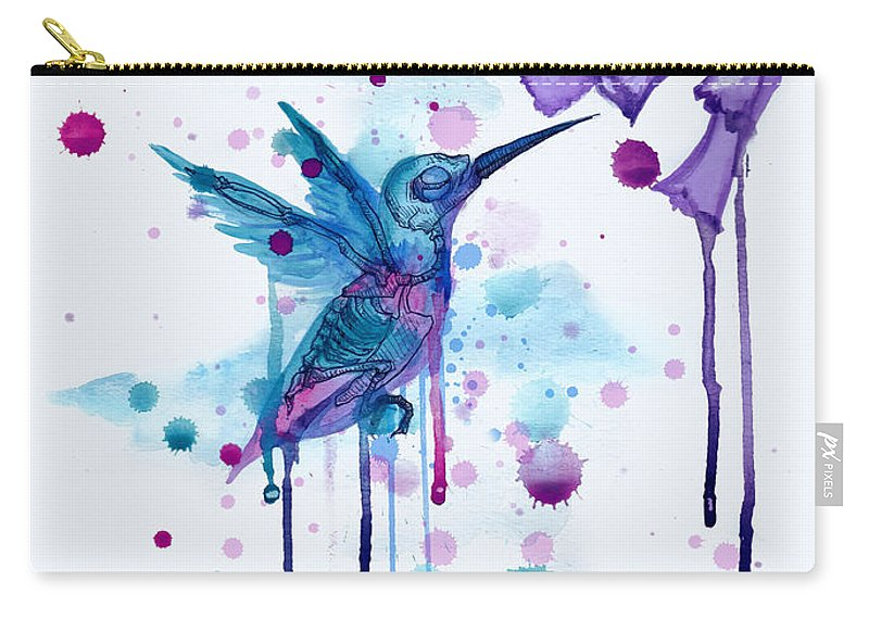 Hummingbird Carry-all Pouch featuring the drawing Hummingbird Skeleton 2.0 by Ludwig Van Bacon